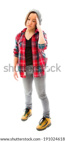 Young woman suffering from headache - stock photo