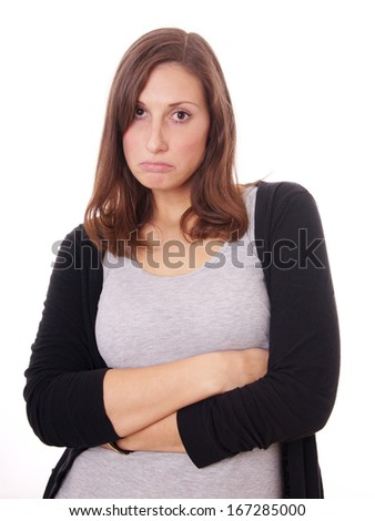 young woman sulking - stock photo