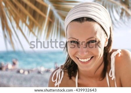 young woman summer beach portrait