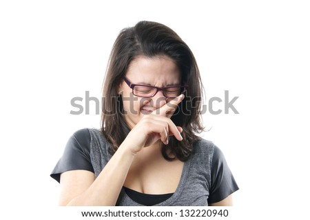 Suppress a sneeze young woman suppressing a sneeze stock photo young