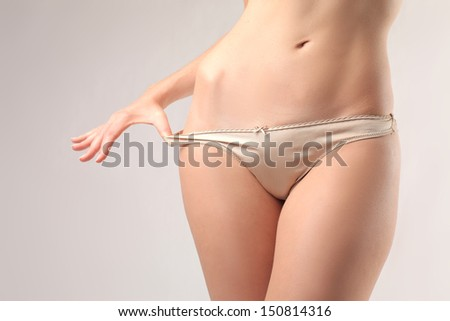 women taking off underwear