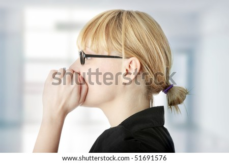Young woman talking gossip - stock photo