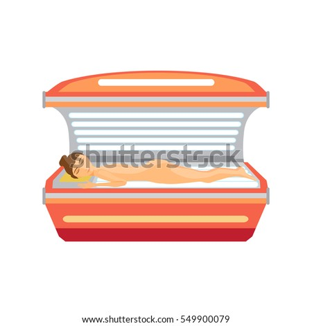 Young Woman Tanning Naked Solarium Flat Stock Illustration