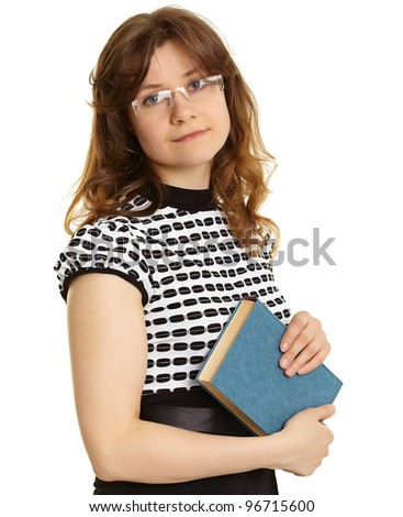 Young woman - teacher with a book - stock photo
