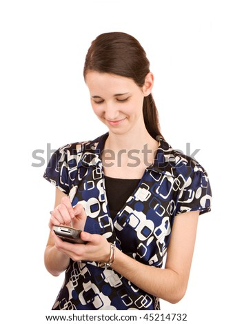 Young woman texting - stock photo