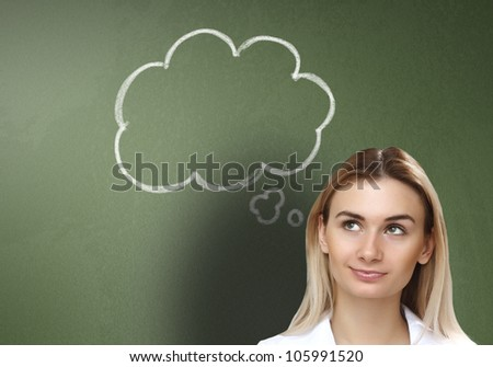Young woman thinking and dreaming about her future