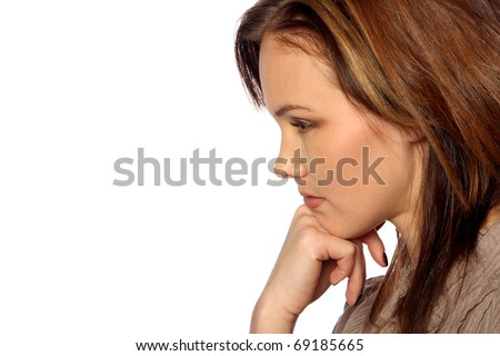 young woman thinking deeply - stock photo