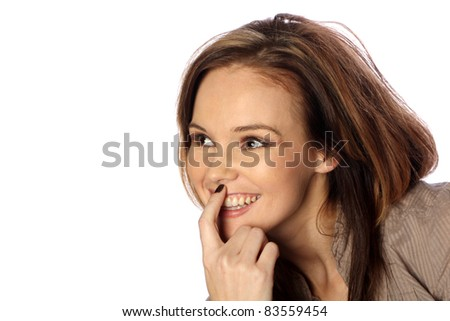 Young woman thinking happy thoughts