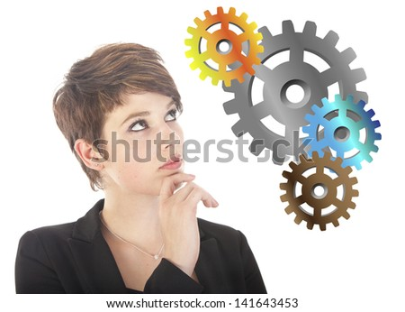 Young woman thinking with gears isolated on white background