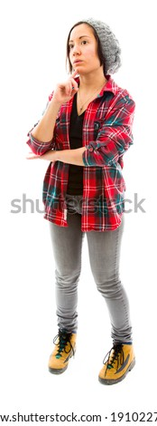 Young woman thinking with her hand on chin - stock photo