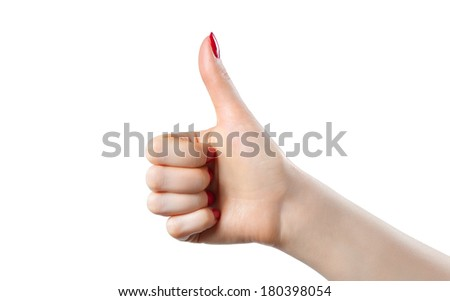 Young woman thumb up handsign. Isolated on white. - stock photo