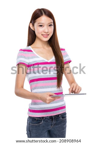 Young woman touch on digital tablet