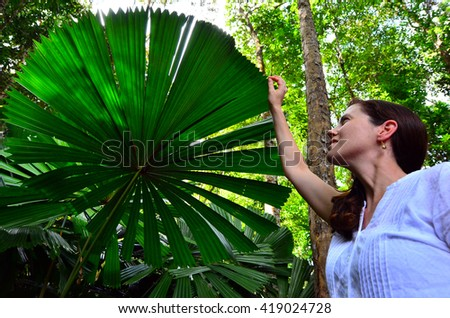 Young woman touches an Australian fan palm leaf in Daintree National Park in the tropical north of Queensland, Australia - stock photo