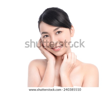 Young Woman Touching Her Face. Smile face  - stock photo