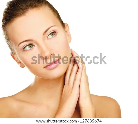 Young woman touching her neck isolated on white background - stock photo