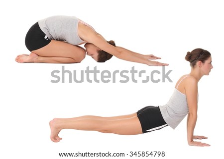 Young woman training yoga. Isolated on white background