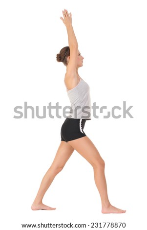 Young woman training yoga . large series of photos