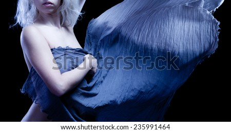 Young woman, transparent wet cloth. - stock photo