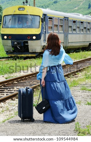 Young woman traveling - stock photo