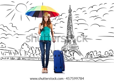 Young woman travelling to Paris - stock photo