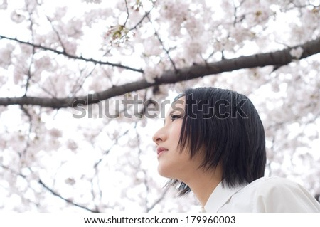 Young woman under the cherry tree
