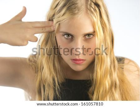 young woman upset - stock photo