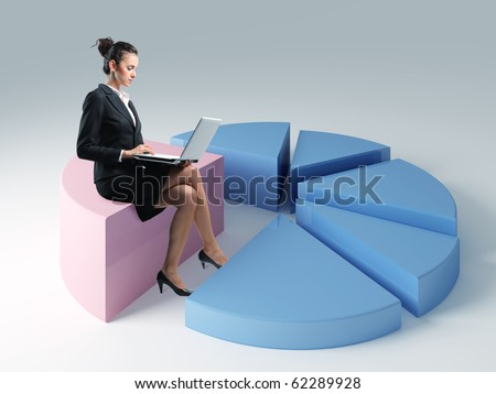 young woman use laptop on 3d pie chart - stock photo