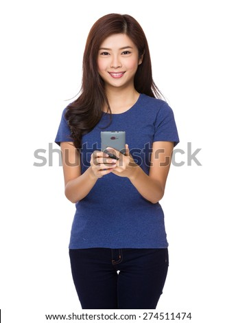 Young woman use of digital phone