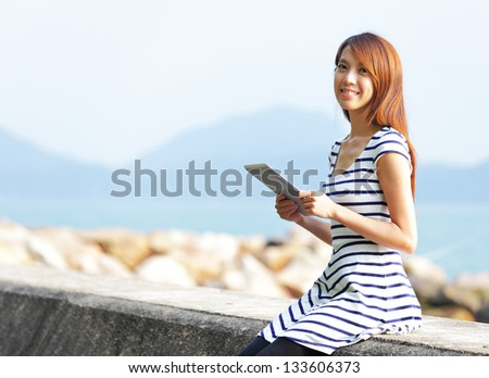 young woman use tablet computer