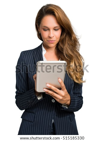 Young woman using a tablet isolated