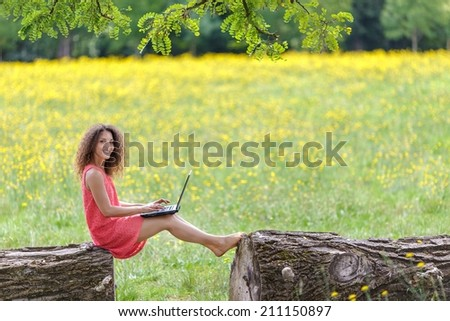 Young woman using laptop in nature sitting on a log in a dandelion summer field