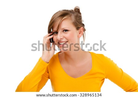 Young woman using mobile phone isolated on white background