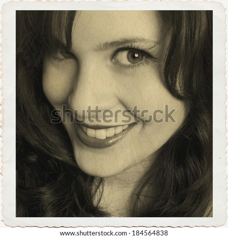 Young woman, vintage style - stock photo
