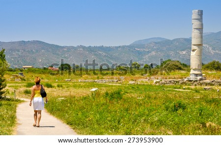 Young woman visiting Heraion, Pithagorio,Samos - stock photo
