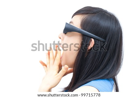 young woman watching TV with 3D glasses - stock photo
