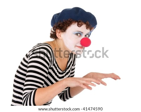 Young woman wearing clown face and performing mime gestures. - stock photo