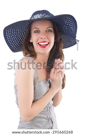 Young woman wearing hat and gray striped dress isolated on white