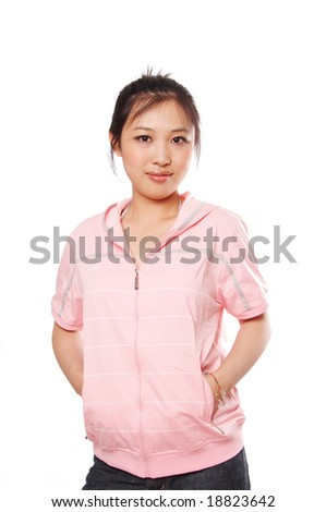 Young woman wearing pink Jersey, isolated on white.