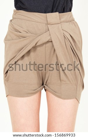 Young woman wearing sexy fashion short pants closeup shot