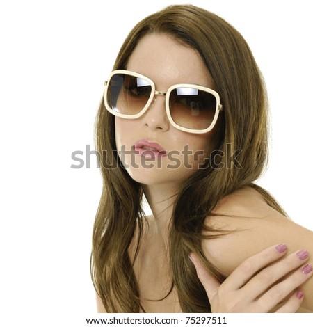 Young woman wearing the big modern sunglasses. - stock photo