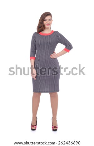 young woman wearing the office dress - stock photo