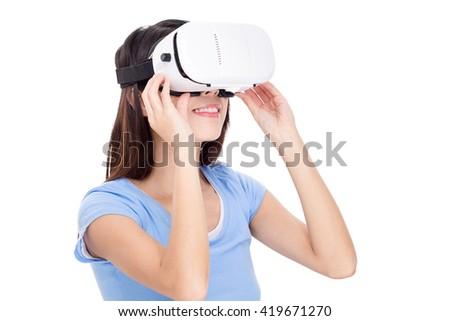 Young woman wearing virtual reality device  - stock photo
