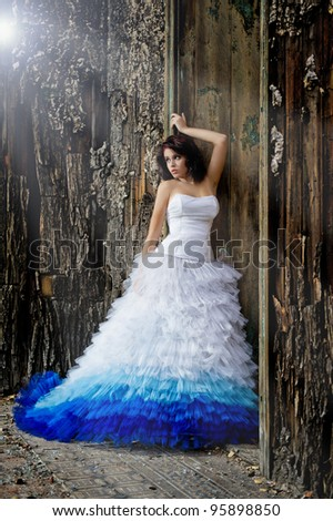 Young woman wearing wedding dress