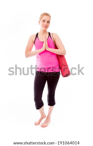 Young woman welcoming with hands clasped - stock photo