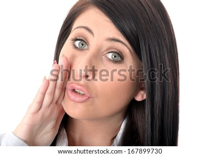 Young Woman Whispering - stock photo