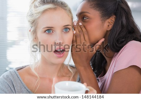Young woman whispering secret to her shocked friend at home - stock photo