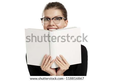 Young woman with a book on white background