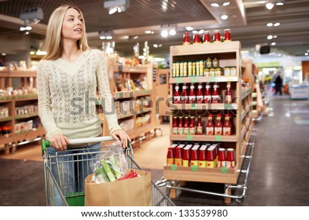 Young woman with a cart in a store - stock photo