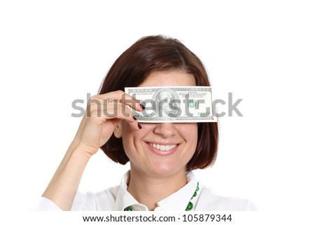 young woman with a dollar bill in his hand - stock photo