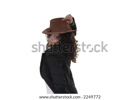 young woman with a hat in a white background